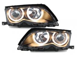 Angel Eye Headlights suitable for BMW 3 Series E46 Sedan Touring (09.2001-03.2005) 2 Halo Rims Black - SWB02DB