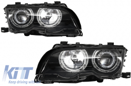 Angel Eyes Headlights BMW 3 Series E46 Coupe/Cabrio (1998-2003) Black Edition - PXN1-336D