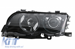 Angel Eyes Headlights BMW 3 Series E46 Coupe/Cabrio (1998-2003) Black Edition Left Side - HLBME46L/961521