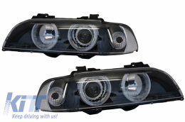 Angel Eyes Headlights BMW 5 Series E39 (1996-2003) Facelift Design Black Edition - PXN1-200A