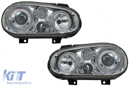 Angel Eyes Headlights Dual Halo Rims suitable for VW Golf IV 4 Cabriolet Hatchback Variant (09.1997-09.2003) Chrome LHD or RHD - HLVWG4ANC