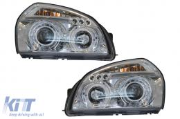 Angel Eyes Headlights Dual Halo Rims suitable for Hyundai Tucson (2004-2010) Chrome - HLHYTUC