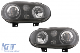 Angel Eyes Headlights Dual Halo Rims suitable for VW Golf IV 4 Cabriolet Hatchback Variant (09.1997-09.2003) Black LHD or RHD - HLVWG4BAN