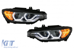 Angel Eyes Headlights LED DRL suitable for BMW 3 Series F30 F31 Sedan Touring (10.2011-05.2015) Black - HLBMF30M3