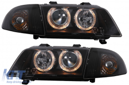 Angel Eyes Headlights suitable for Audi A4 B5 (1995-1998) 2 Halo Rims Black - SWA02DB