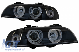 Angel Eyes Headlights suitable for BMW 5 Series E39 Sedan Touring (1996-2003) Black Grey Edition - PXN1-200C
