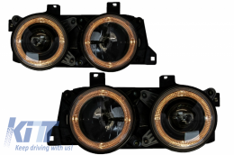 Angel Eyes Headlights suitable for BMW 7 Series E32 5 Series E34 Black - HLBME34/LPBM60