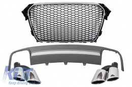 Assembly Central Grille with Rear Bumper Valance Air Diffuser and Muffler Tips suitable for AUDI A4 B8 Facelift (2012-2015) Limousine/Avant RS Design - COFGAUA4B8FS4RS