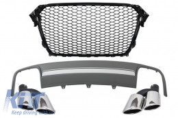 Assembly Central Grille with Rear Bumper Valance Air Diffuser and Muffler Tips suitable for AUDI A4 B8 Facelift (2012-2015) Limousine/Avant RS Design - COFGAUA4B8FS4RSB