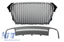 Assembly Central Grille with Rear Bumper Valance Air Diffuser Audi A4 B8 Facelift (2012-2015) Limousine/Avant RS Design - COFGAUA4B8FS4