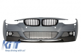 Assembly Front Bumper BMW 3er F30 F31 Sedan Touring (2011-up) M-Performance with Central Grilles Kidney Grilles Double Stripe M Design Piano Black - COFBBMF30MPDP