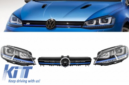 Assembly Headlights 3D LED FLOWING Dynamic Sequential Turn Light DRL + Grille Volkswagen Golf 7 VII (2012-2017) Blue GTE Look - COHLVWG7GTEFW