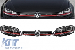 Assembly Headlights 3D LED FLOWING Dynamic Sequential Turn Light DRL + Grille Volkswagen Golf 7 VII (2012-up) RED R20 GTI Look