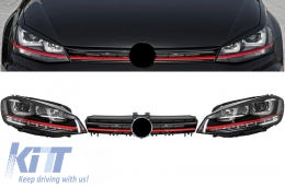 Assembly Headlights 3D LED FLOWING Dynamic Sequential Turn Light DRL with Grille suitable for VW Golf 7 VII (2012-2017) RED R20 GTI Look - COHLVWG7GTILEDFW