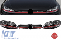 Assembly Headlights 3D LED FLOWING Dynamic Sequential Turn Light RHD with Grille suitable for VW Golf 7 VII (2012-2017) RED R20 GTI Look