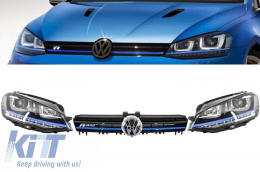 Assembly Headlights 3D LED Turn Light DRL + Grille Volkswagen Golf 7 VII (2012-up) Blue GTE Look