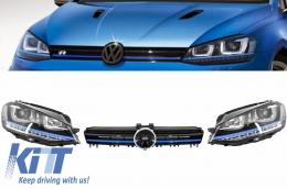 Assembly Headlights 3D LED Turn Light DRL + Grille Volkswagen Golf 7 VII (2012-up) Blue GTE Look   - COHLVWG7GTE
