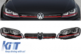 Assembly Headlights 3D LED Turn Light DRL + Grille Volkswagen Golf 7 VII (2012-2017) RED R20 GTI Look   - COHLVWG7GTILED