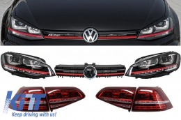Assembly Headlights 3D LED Turn Light DRL, Taillights Full LED and Grille VW Volkswagen Golf 7 VII (2013-up) RED R20 GTI Look