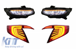 Assembly Headlights and Taillights Honda Civic MK10 (FC/FK) 2016+ Limousine Full LED with Sequential Dynamic Turning Lights - COHLHOCIFKRB
