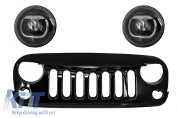 Assembly of Central Grille Front Grille Jeep Wrangler / Rubicon JK (2007-2017) Angry Bird Design Piano Black with HID Bi-Xenon Headlights - COFGJEWJK