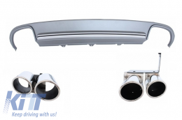 Audi A4 B8 Sedan Facelift (2012-up) Rear Bumper Valance Diffuser & Exhaust Tips S4 Design - RDAUS4F