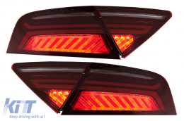 Audi A7 4G Facelift Light Bar Design (2010-2014) LED Taillights Cherry Red/Smoke - TLAUA74G