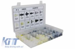 Auto Clips Plastic fasteners Kit 194 pcs - UNIVERSALCLIPS194