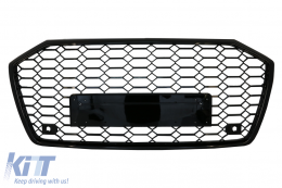 Badgeless Central Grille suitable for Audi A6 C8 4K (2018-up) RS6 Design Piano Black - FGAUA64KRS