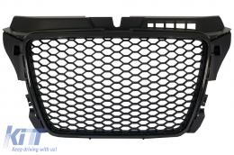 Badgeless Front Grille Audi A3 8P Facelift (2007-2012) RS Design Piano Black - FGAUA38PFRSB
