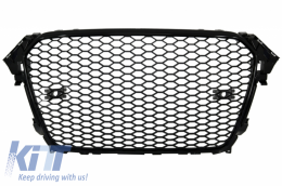 Badgeless Front Grille Audi A4 B8 Facelift (2012-2015) RS Design Piano Black With and Without PDC - FGAUA4B8FRSB