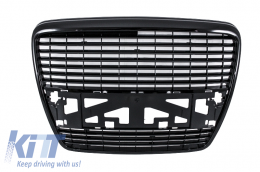 Badgeless Front Grille Audi A6 4F (2004-2011) Piano Black - FGAUA64FBB