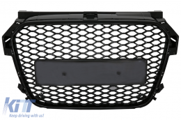Badgeless Front Grille suitable for AUDI A1 8X Facelift (2015-2018) RS1 Design Piano Black - FGAUA18XRSB