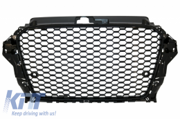 Badgeless Front Grille suitable for AUDI A3 8V (2012-2016) RS3 Design Piano Black - FGAUA38VRSB/GRAU52