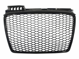 Badgeless Front Grille suitable for AUDI A4 B7 (2004-2008) RS4 Piano Black - FGAUA4B7RSPBTW