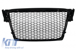 Badgeless Front Grille suitable for AUDI A4 B8 (2007-2012) RS Design Piano Black - FGAUA4B8RSB