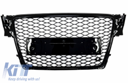 Badgeless Front Grille suitable for AUDI A4 B8 (2008-2011) RS4 Design Piano Black - FGAUA4B8RSPDC