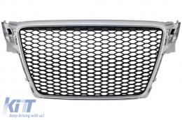 Badgeless Front Grille suitable for AUDI A4 B8 (2007-2012) Limousine Avant RS Design Silver - FGAUA4B8RSS