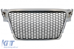 Badgeless Front Grille suitable for AUDI A4 B8 (2007-2012) Limousine Avant RS Design Chrome
