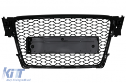 Badgeless Front Grille suitable for Audi A4 B8 (2007-2012) RS Design Piano Black - FGAUA4B8RSPB