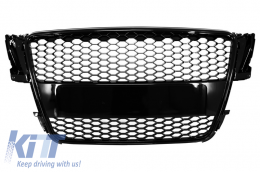 Badgeless Front Grille suitable for AUDI A5 8T (2007-2011) RS Design Piano Black - FGAUA58TRSB