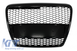 Badgeless Front Grille suitable for AUDI A6 4F C6 (2004-2007) RS Design Piano Black - FGAUA64FRSB