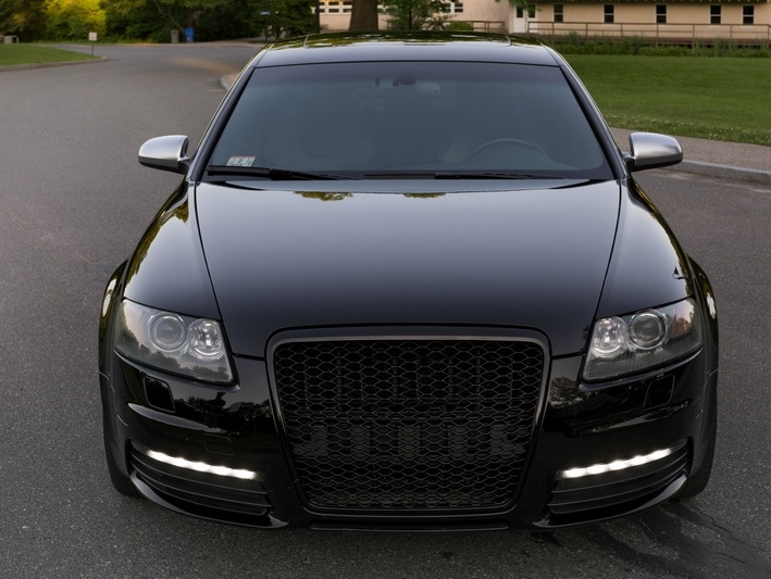 badgeless front grille suitable for audi a6 4f 4f2 c6 2004 2011 rs design piano black. Black Bedroom Furniture Sets. Home Design Ideas