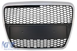 Badgeless Front Grille suitable for Audi A6 4F 4F2 C6 (2004-2011) Limousine Avant RS Design Matte Silver - FGAUA64FRSMS