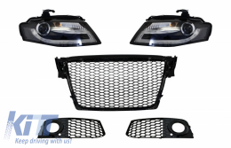 Badgeless Front Grille with Fog Lamp Covers Side Grilles and LED Daytime Running Light Headlights suitable for AUDI A4 B8 8K (2008-2011) RS Design Piano Black - COCBAUA4B8RSBSGSW