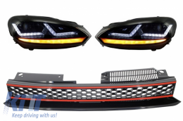 Badgeless Grille Full Honey Comb without Emblem Osram Xenon Headlights LED Dynamic Sequential Turning Lights Red Stripe GTI Design VW Golf 6 VI 2008-2012 - COLEDHL102GTI