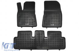 Black Floor Mats Rubber suitable for Tesla Model 3 4-doors (Fastback Sedan) (2017-2020) - 204002