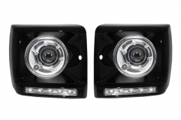 Black Headlights Covers LED DRL Chrome Mercedes Benz G-Class W463 (1989-2012) G65 AMG Design with Headlights Bi-Xenon Look - COHCMBG65BCC