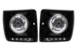 Black Headlights Covers LED DRL suitable for MERCEDES G-Class W463 (1989-2012) G65 A-Design with Headlights Bi-Xenon - COHCMBG65BBHC