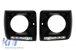 Black Headlights Covers with LED DRL Chrome Daytime Running Lights suitable for MERCEDES G-Class W463 (1989-up) G65 A-Design Black